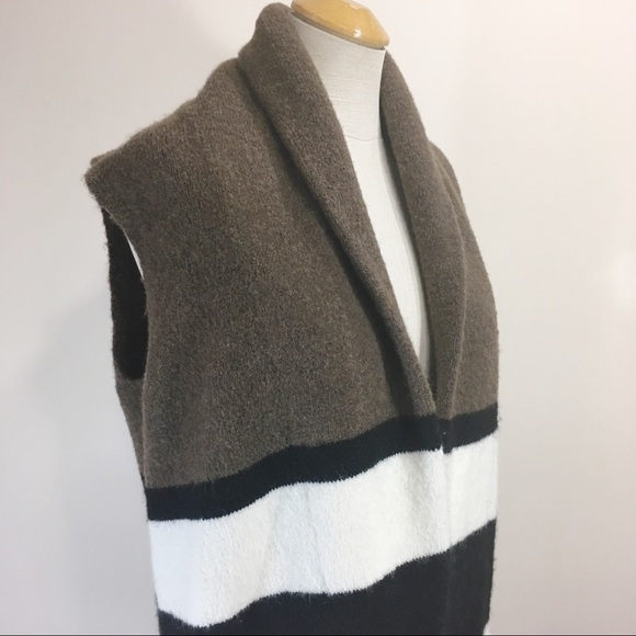 LOFT Wool Alpaca Long Open Cardigan Sweater Vest